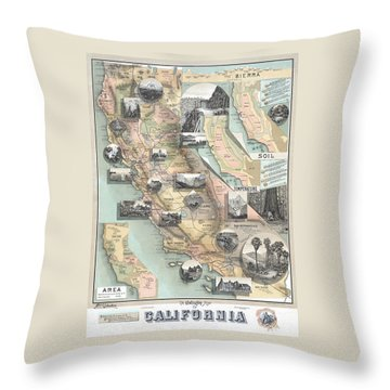 Vintage California Map Throw Pillow