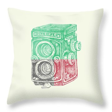 Vintage Camera Color Throw Pillow