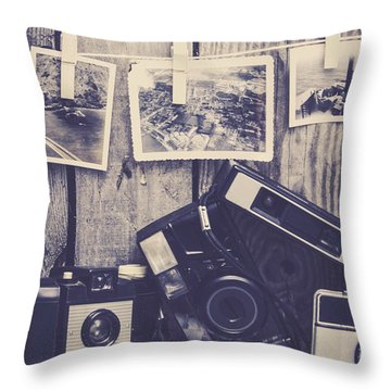 Vintage Camera Gallery Throw Pillow