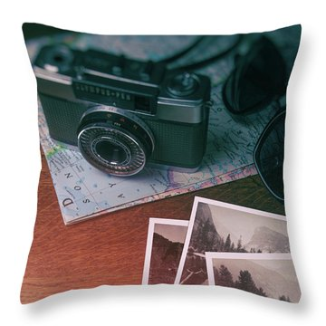 Vintage Camera On Map Throw Pillow