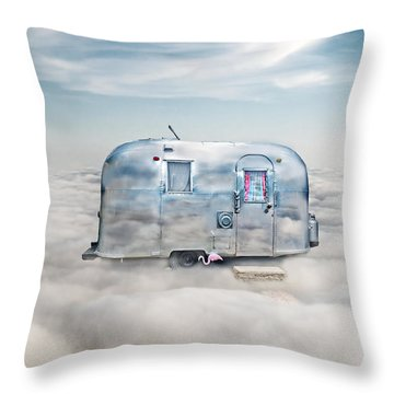 Vintage Camping Trailer In The Clouds Throw Pillow
