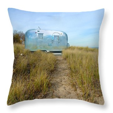 Vintage Camping Trailer Near The Sea Throw Pillow