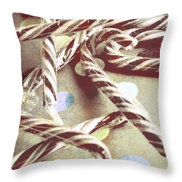 Vintage Candy Canes Throw Pillow