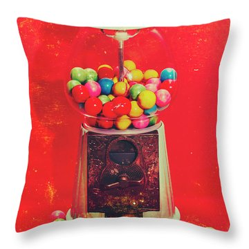 Vintage Candy Store Gum Ball Machine Throw Pillow