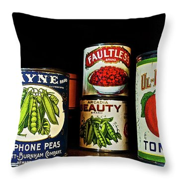 Vintage Canned Vegetables Throw Pillow