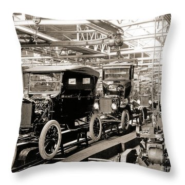 Vintage Car Assembly Line Throw Pillow