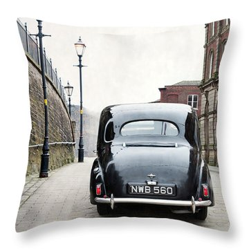 Vintage Car On A Cobbled Street Throw Pillow by Lee Avison