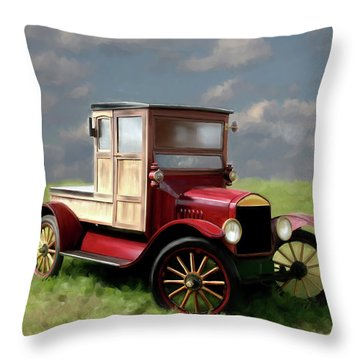 Vintage Car Painting Throw Pillow by Michael Greenaway