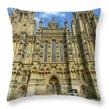 Throw Pillow featuring the photograph Vintage Car Parked In Front Of Wells Cathedral by Jacek Wojnarowski