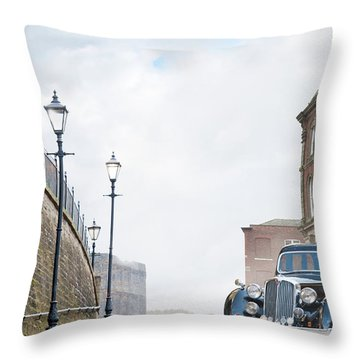 Vintage Car Parked On The Street Throw Pillow by Lee Avison
