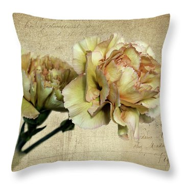Vintage Carnations Throw Pillow