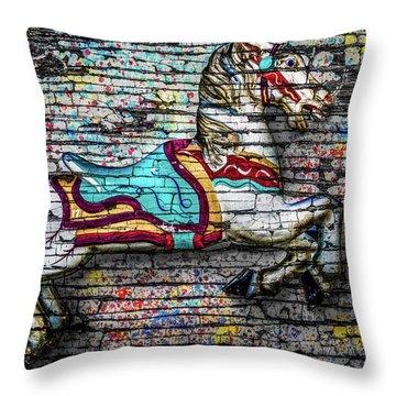 Vintage Carousel Horse Throw Pillow