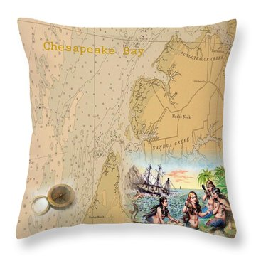Vintage Chesapeake Bay  Throw Pillow