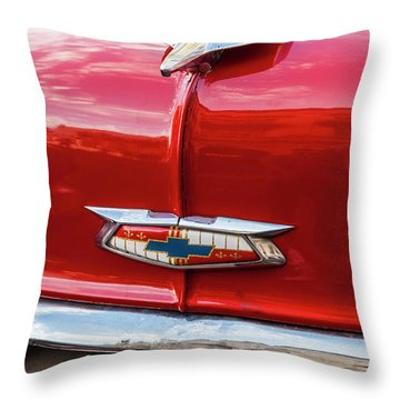 Throw Pillow featuring the photograph Vintage Chevy Hood Ornament Havana Cuba by Charles Harden