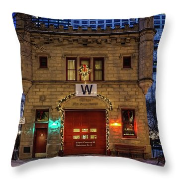 Vintage Chicago Firehouse With Xmas Lights And W Flag Throw Pillow