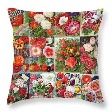 Vintage Childs Nursery Flower Seed Packets Mosaic  Throw Pillow