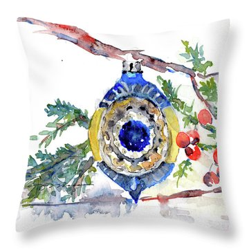 Vintage Christmas Bulb In Blue Throw Pillow