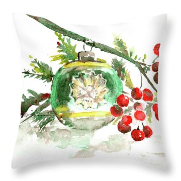 Vintage Christmas Bulb In Green Throw Pillow