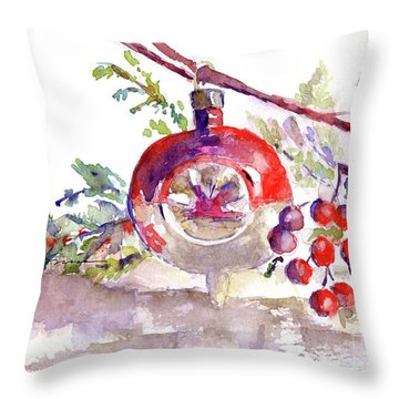 Vintage Christmas Bulb In Red Throw Pillow