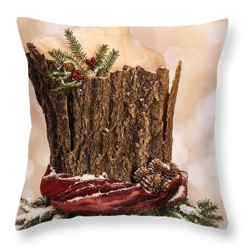 Vintage Christmas Greetings Card Throw Pillow