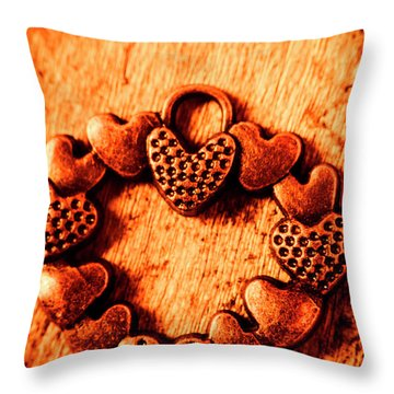 Vintage Circle Of Hearts Throw Pillow