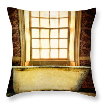 Vintage Clawfoot Bathtub By Window Throw Pillow