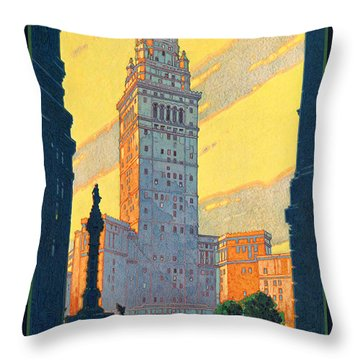 Vintage Cleveland Travel Poster Throw Pillow by George Pedro