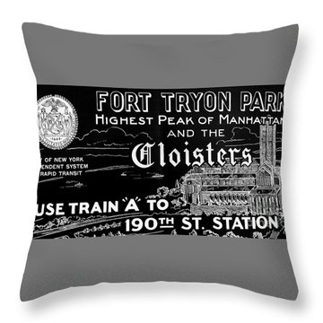 Vintage Cloisters And Fort Tryon Park Poster Throw Pillow