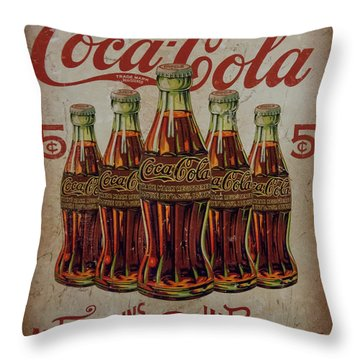 vintage Coca Cola sign Throw Pillow