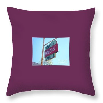 Throw Pillow featuring the painting Vintage Coca-cola Sign by Donna Dixon