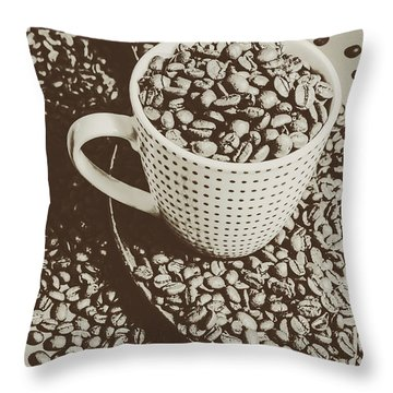 Throw Pillow featuring the photograph Vintage Coffee Art. Stimulant by Jorgo Photography - Wall Art Gallery