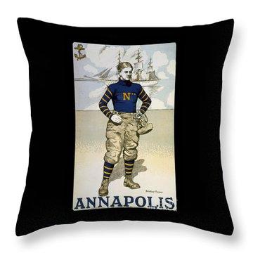 Vintage College Football Annapolis Throw Pillow