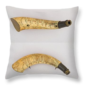 Throw Pillow featuring the photograph Vintage 1767 Colonial American Powder Horn Four Views by John Stephens