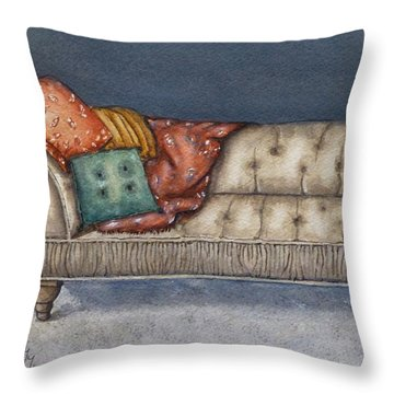 Throw Pillow featuring the painting Vintage Comfy Couch by Kelly Mills