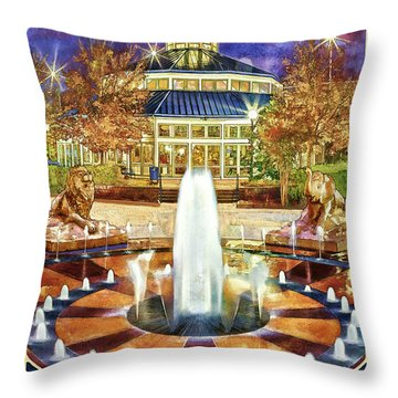 Vintage Coolidge Park Poster Throw Pillow