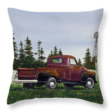 Throw Pillow featuring the painting Vintage Country Pickup by James Williamson