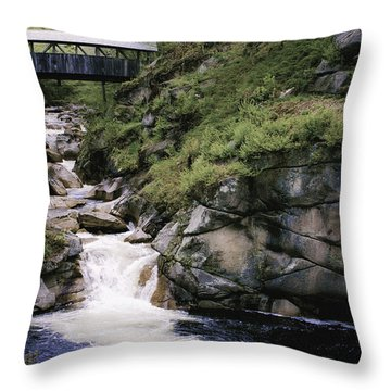 Throw Pillow featuring the photograph Vintage Covered Bridge And Waterfall by Jason Moynihan