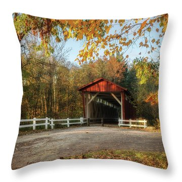 Throw Pillow featuring the photograph Vintage Covered Bridge by Dale Kincaid
