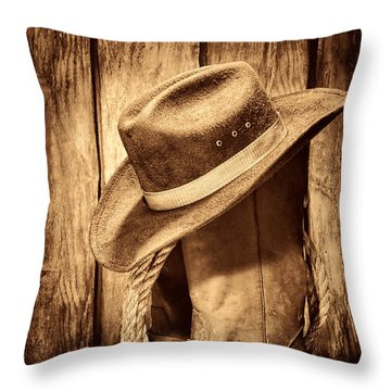 Vintage Cowboy Boots Throw Pillow