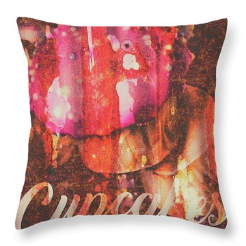 Vintage Cupcake Tin Sign Throw Pillow
