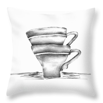 Vintage Cups Throw Pillow
