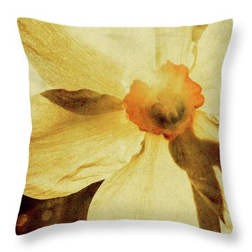Vintage Daffodil Haze Throw Pillow