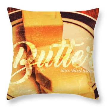 Vintage Dairy Product Advertisement Throw Pillow
