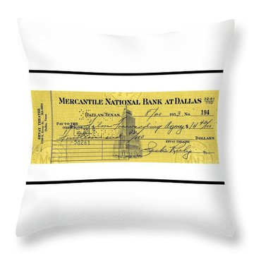 Throw Pillow featuring the drawing Vintage Dallas Bank Check Signed By Jack Ruby Killer Of Lee Harvey Oswald by Peter Gumaer Ogden