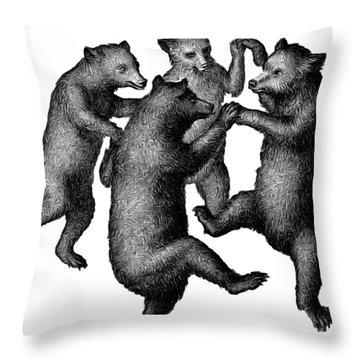 Vintage Dancing Bears Throw Pillow