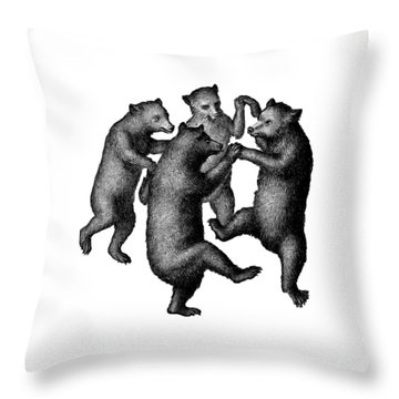 Vintage Dancing Bears Throw Pillow by Edward Fielding