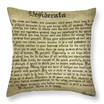Vintage Desiderata Throw Pillow