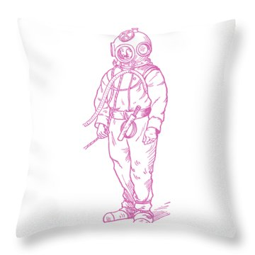 Throw Pillow featuring the digital art Vintage Diver by Edward Fielding