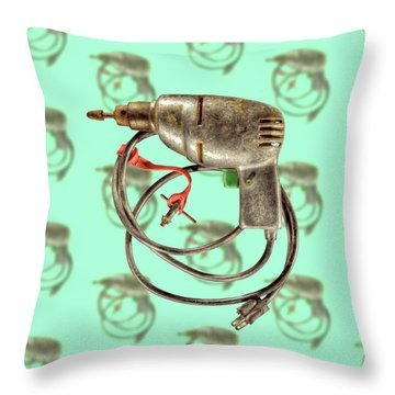 Vintage Drill Motor Green Trigger Pattern Throw Pillow by YoPedro