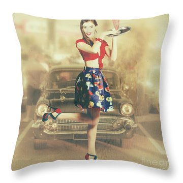 Vintage Drive Thru Pin-up Girl Throw Pillow